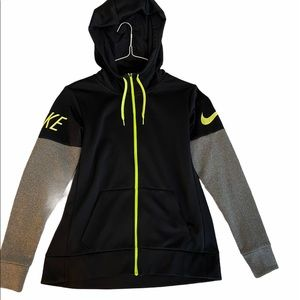 Nike Dri Fit Black, Grey, Neon Green Zipup Sweater